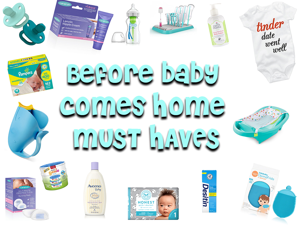 Must Haves Before Bringing Baby Home. An image of a bunch of baby products representing BabyBety's article Must Haves Before Bringing Baby Home.